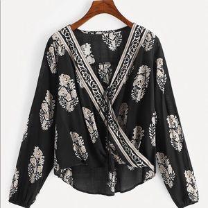Tops - Black and white boho blouse